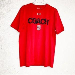 Under Armour Mens T Shirt Red Coach Medium